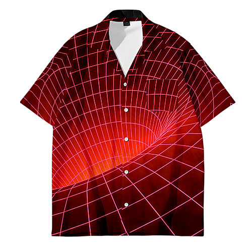 Men's Shirt 3D Print Optical Illusion Button-Down 3D Print Short Sleeve Casual Tops Casual Fashion Breathable Comfortable Red