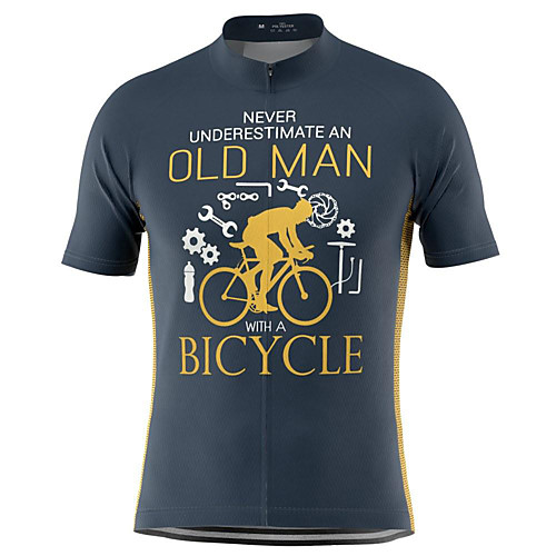 21Grams Old Man Men's Short Sleeve Cycling Jersey Summer Polyester Blue Yellow Bike Jersey Top Mountain Bike MTB Road Bike Cycling Quick Dry Moisture Wicking Breathable Sports Clothing Apparel