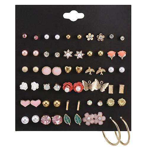 flower butterfly earrings female 30 pairs one card rhinestone earrings earrings popular earrings