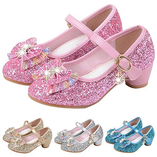 Girls' Heels Mary Jane Basic Pump Flower Girl Shoes PU Little Kids(4-7ys) Big Kids(7years ) Dress Crystal Bowknot Blue Pink Gold Spring & Summer