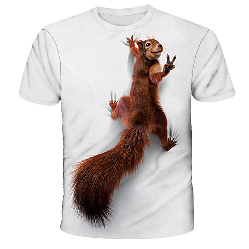 Men's Tee T shirt 3D Print Graphic Squirrel Animal Print Short Sleeve Daily Tops Basic Designer Streetwear Exaggerated Round Neck White Blue Red