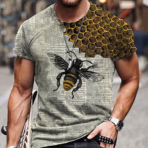 Men's Tee T shirt Shirt 3D Print Graphic Prints Bee Print Short Sleeve Daily Tops Casual Designer Big and Tall Round Neck Blue Yellow Green / Summer