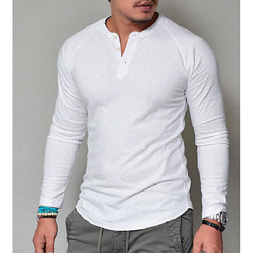 Men's T shirt Graphic Solid Colored Long Sleeve Daily Tops Basic V Neck White Red Army Green