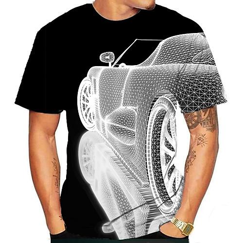 Men's T shirt Shirt 3D Print Graphic 3D Plus Size Print Short Sleeve Daily Tops Elegant Exaggerated Round Neck White Blue Purple