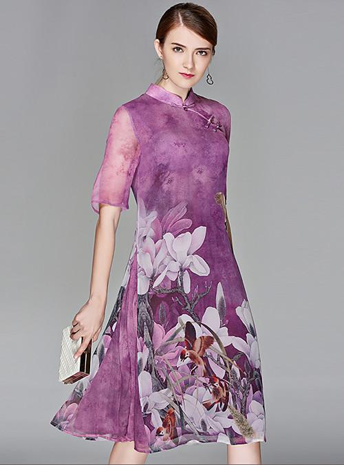 bf40259a94f Women s Floral Plus Size Party Going out Boho Street chic Chiffon Swing  Dress - Floral Print Stand Spring Silk Purple Light Blue XL XXL XXXL 2019 -  US ...