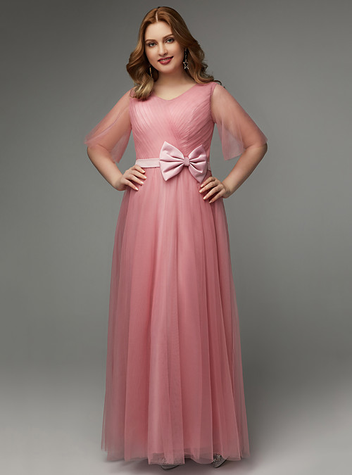 Plus Size A-Line V Neck Floor Length Tulle Prom Dress with Bow(s ...