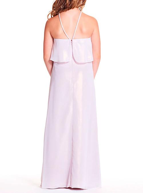 42e066b00 A-Line Halter Neck Floor Length Chiffon Junior Bridesmaid Dress with Ruffles  by LAN TING BRIDE® 2019 - US $62.99