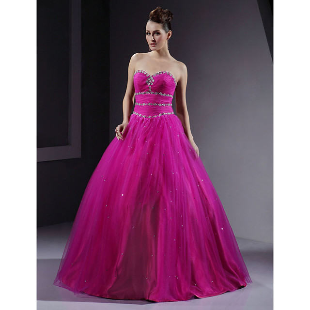 Ball Gown Quinceanera Prom Military Ball Dress Sweetheart Neckline Strapless Sleeveless Floor Length Satin Tulle with Crystals Beading Sequin 2021