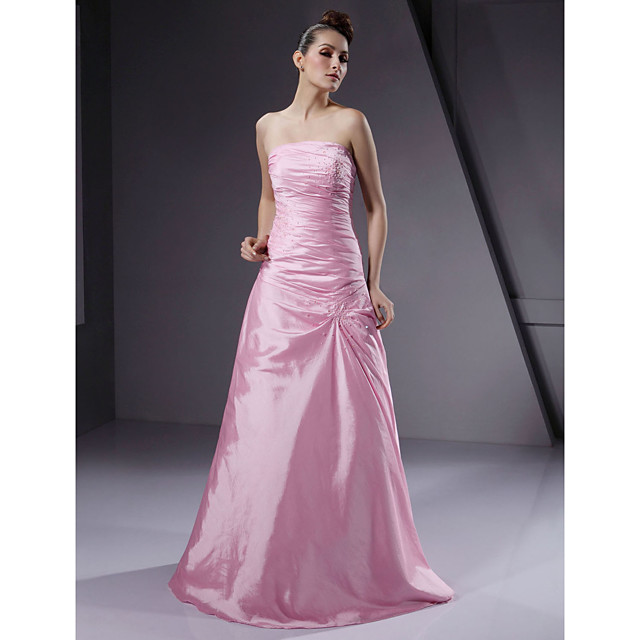 Ball Gown Wedding Party Military Ball Dress Strapless Sleeveless Floor Length Taffeta with Beading Side Draping 2021