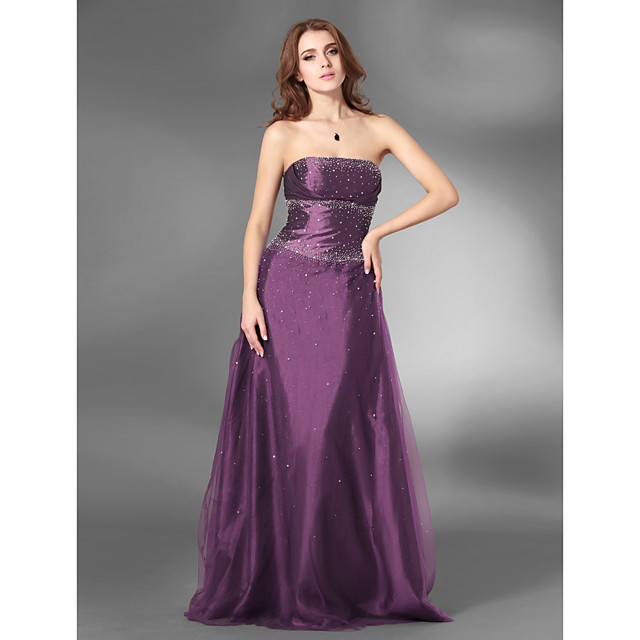 Ball Gown Open Back Prom Formal Evening Military Ball Dress Strapless Sleeveless Floor Length Satin Tulle with Beading 2021