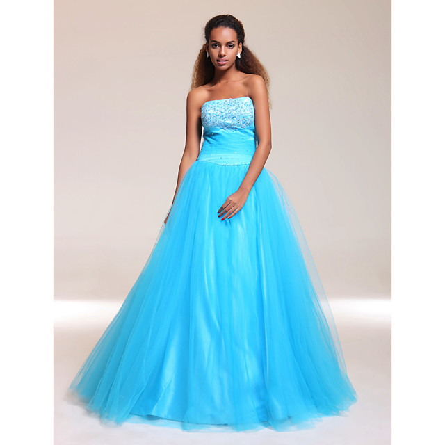 Ball Gown A-Line Quinceanera Prom Military Ball Dress Strapless Sleeveless Floor Length Satin Tulle with Ruched Beading Appliques 2021