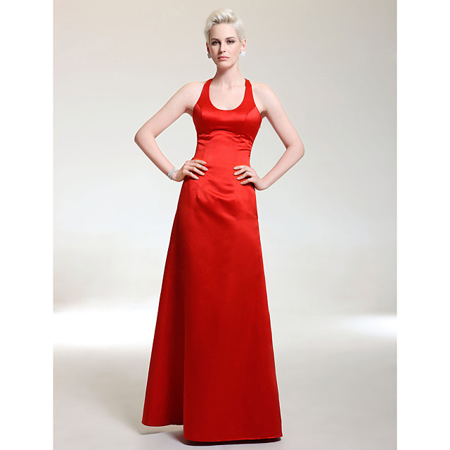 Ball Gown Elegant Formal Evening Military Ball Dress Scoop Neck Sleeveless Floor Length Satin with 2021