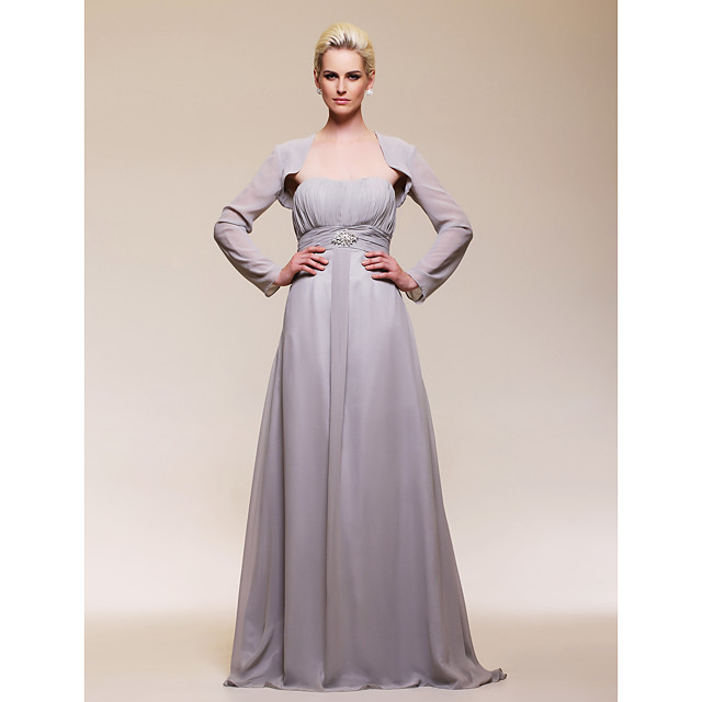 Ball Gown Prom Formal Evening Military Ball Dress Sweetheart Neckline Strapless Long Sleeve Floor Length Chiffon with Ruched Draping Crystal Brooch 2021