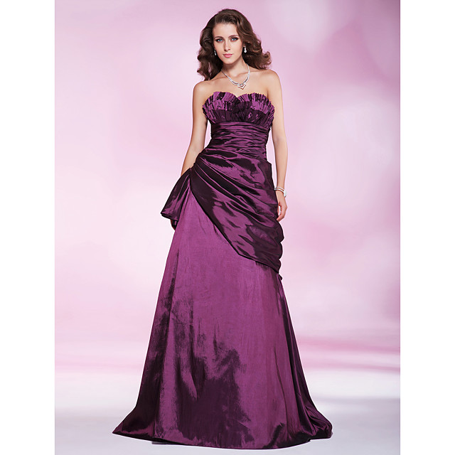 Ball Gown Prom Formal Evening Military Ball Dress Sweetheart Neckline Strapless Sleeveless Floor Length Taffeta with Ruched Draping Side Draping 2021