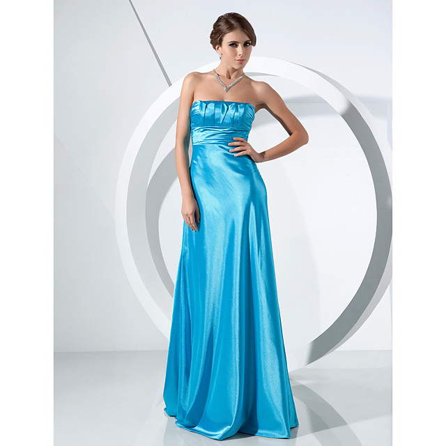 Ball Gown Formal Evening Military Ball Dress Strapless Sleeveless Sweep / Brush Train Stretch Satin with Ruched 2021