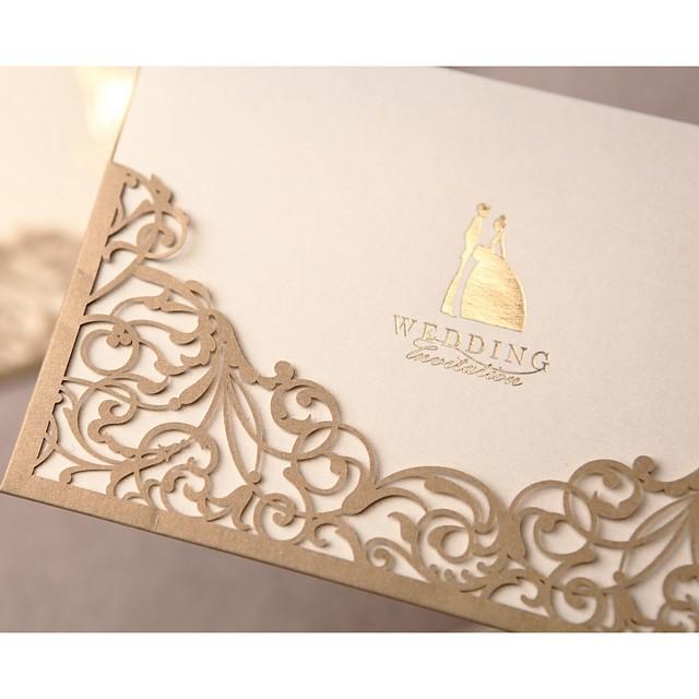 Envuelve y Guarda Invitaciones De Boda Tarjetas de invitación Estilo formal / Estilo clásico / Estilo de Novia y Novio Papel perlado 17 x 11cm