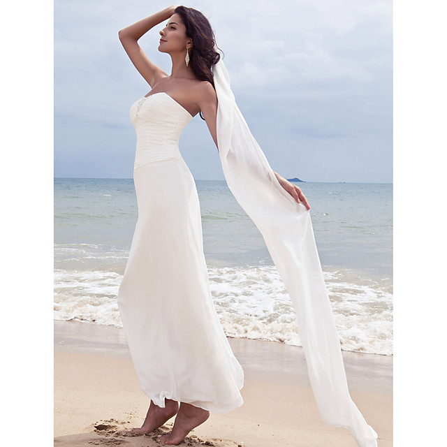 Sheath / Column Wedding Dresses Sweetheart Neckline Ankle Length Chiffon Strapless Formal Beach Plus Size with Ruched Beading 2021