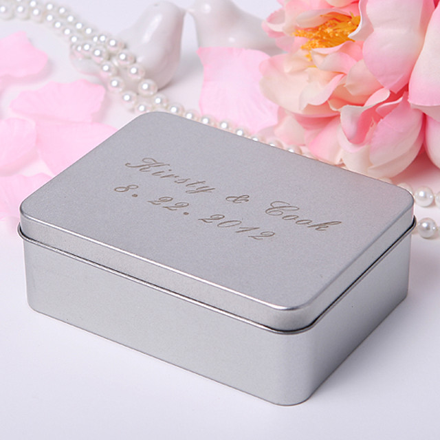 Personlized Rectangle Frosted Favor Tin (Set of 24)