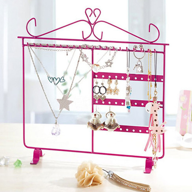 Metal Made Princess Style Pink Jewelry Shelf