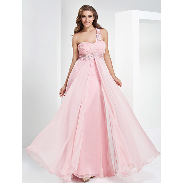 Ball Gown Elegant Open Back Prom Formal Evening Military Ball Dress One Shoulder Sweetheart Neckline Sleeveless Floor Length Chiffon with Crystals Beading Draping 2021