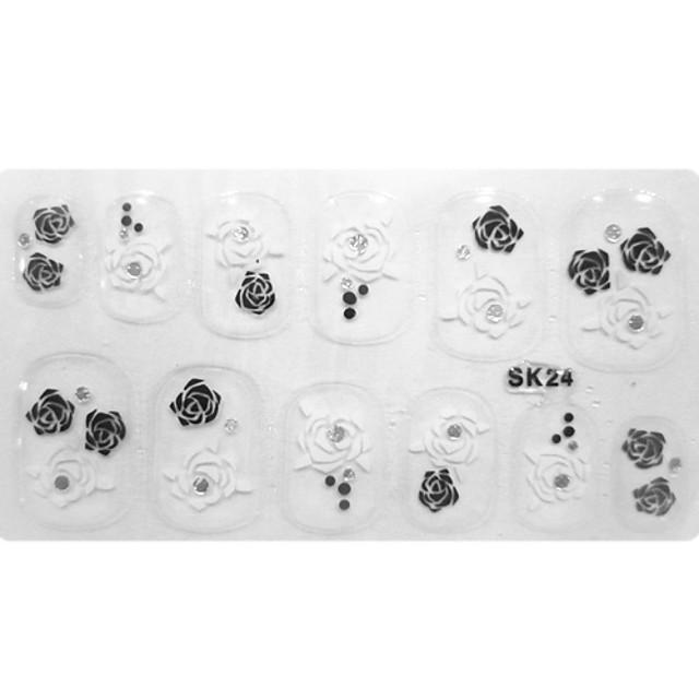 12 pcs 3D Nail Stickers For Finger nail art Manicure Pedicure Flower