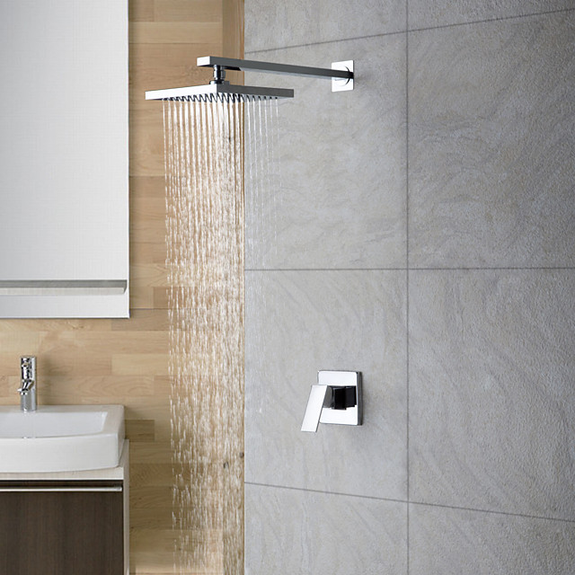 Shower Faucet Set - Rainfall Contemporary Chrome Shower Only Ceramic Valve Bath Shower Mixer Taps / 18-21 / Yes / Single Handle Two Holes