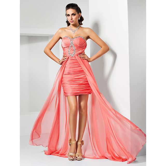 Sheath / Column Prom Formal Evening Dress Sweetheart Neckline Strapless Sweep / Brush Train Asymmetrical Chiffon with Ruched Beading Draping 2021