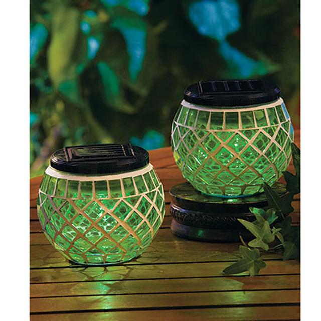 Set Of 2 Green Solar Glass Mosaic Garden Patio Lights Sun Jar Lamp
