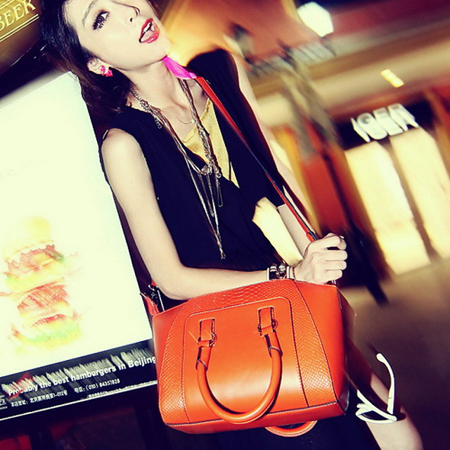 Women Bags PU Shoulder Bag Tote for Casual All Seasons Black Orange Cream