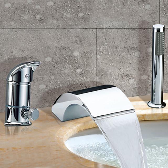 torneira para banheira romana de aço inoxidável, cascata difundida, torneiras misturadoras de chuveiro de banho com válvula de cerâmica contemporânea com interruptor quente e frio