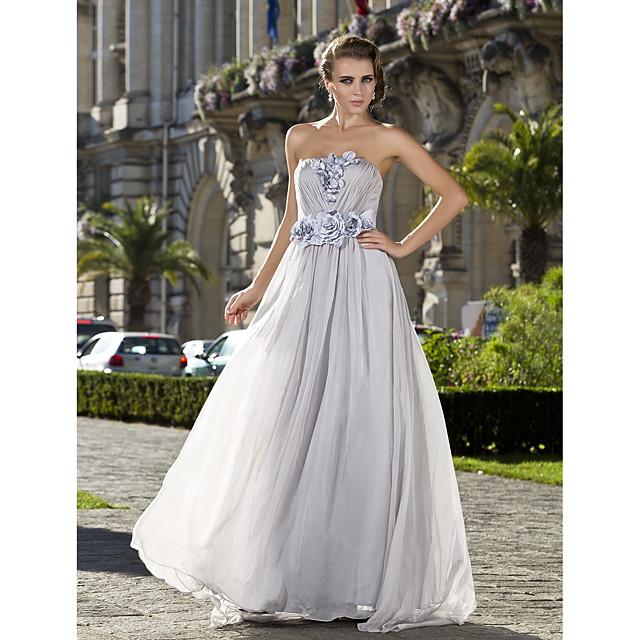 Ball Gown Elegant Prom Formal Evening Military Ball Dress Strapless Sleeveless Floor Length Chiffon with Criss Cross Pleats Beading 2021