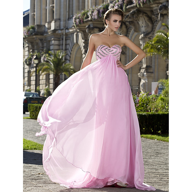 Ball Gown Prom Formal Evening Military Ball Dress Sweetheart Neckline Strapless Sleeveless Sweep / Brush Train Chiffon with Crystals Beading Draping 2021