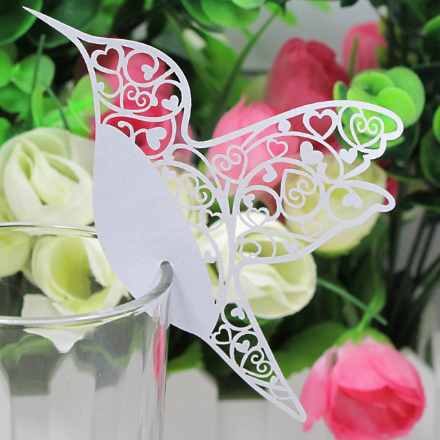 Place Cards and Holders Laser-cut Bird  Place Card For Wine Glass Card (Set of 12)