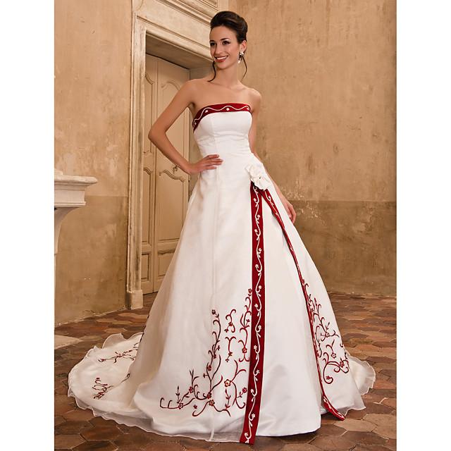 บอลกาวน์ ชุดแต่งงาน ไร้สาย ชายกระโปรงคาทีดรัล ออแกนซ่า ซาติน ไร้สาย ชุดแต่งงานแบบมีสีสัน กับ ลายปัก ผ่าหน้า ดอกไม้ 2021