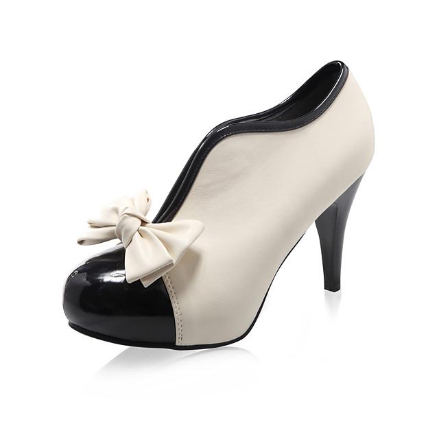Mujer-Tacón Stiletto-Botas a la ModaFiesta y Noche Vestido-Semicuero-Beige