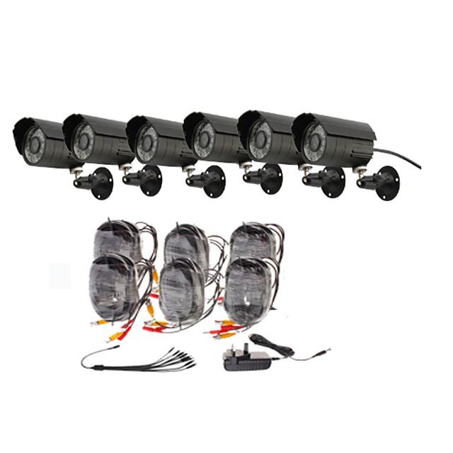 Päivä / Yö turvakamera 6 Pack (6 Waterproof Outdoor Kamerat)