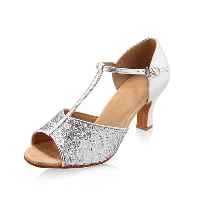 Sparkling Glitter Upper Dance Shoes Ballroom Latin Shoes for Women More Colors