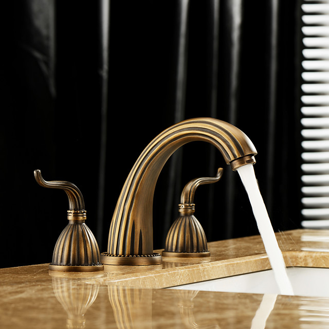 Two Handles Bathroom Faucet, Antique Brass One Hole Widespread/Centerset Bath Taps, Brass Antique/COD Bathroom Sink Faucet Contain with Cold and Hot Water