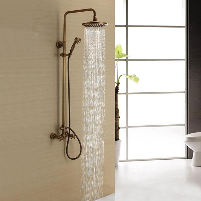Shower Faucet - Antique Antique Brass Shower System Ceramic Valve Bath Shower Mixer Taps / Two Handles Three Holes