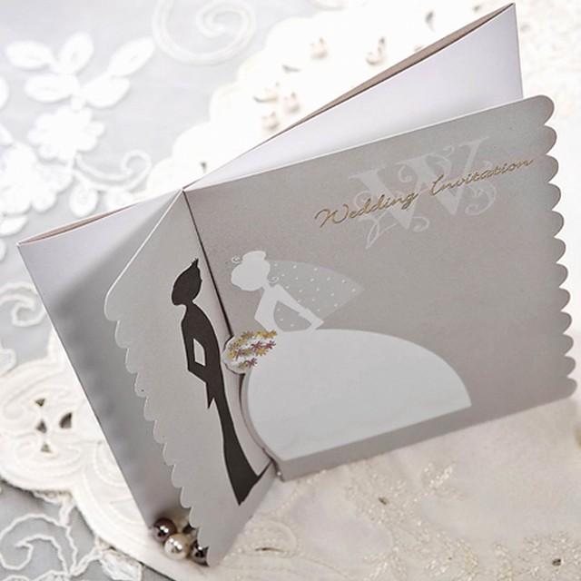 Doble Doblez en Pórtico Invitaciones De Boda Tarjetas de invitación Estilo moderno / Tema de ensueño / Estilo de Novia y Novio Papel perlado 15 x 15cm