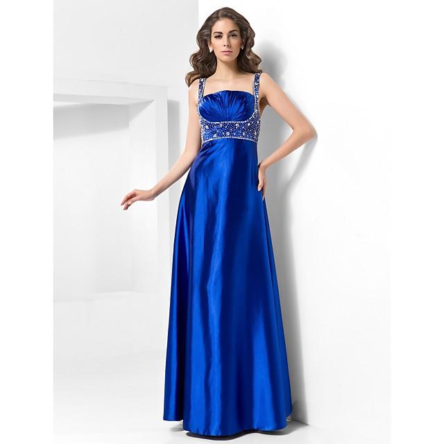 Ball Gown Elegant Prom Formal Evening Military Ball Dress Straps Sleeveless Floor Length Satin with Criss Cross Beading 2021