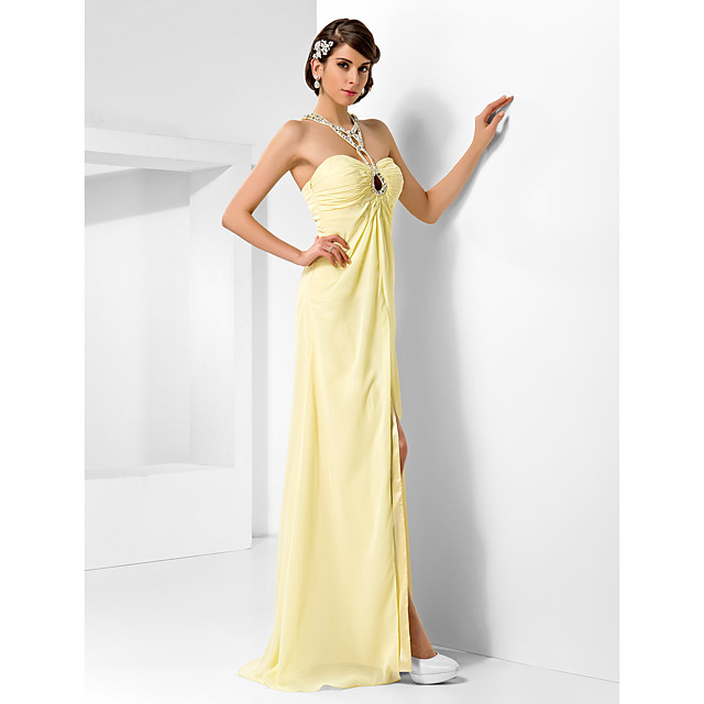 Ball Gown Beautiful Back Prom Formal Evening Military Ball Dress Sweetheart Neckline Sleeveless Floor Length Chiffon with Beading Draping Side Draping 2021