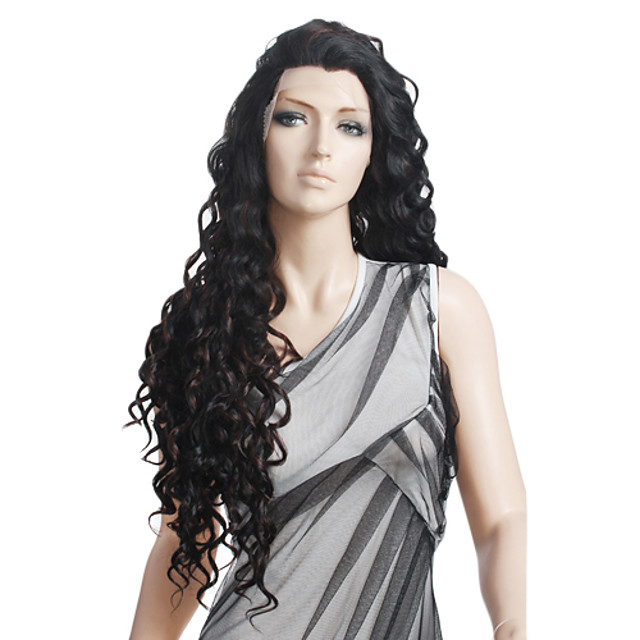Synthetic Wig Natural Wave Spanish Curly Chic & Modern Curly Lace Front Wig Long Black Synthetic Hair 27 inch Women's Black