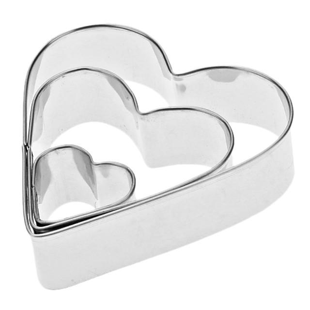 conjunto de cortador de biscoitos de aço inoxidável de forma de coração 3pcs
