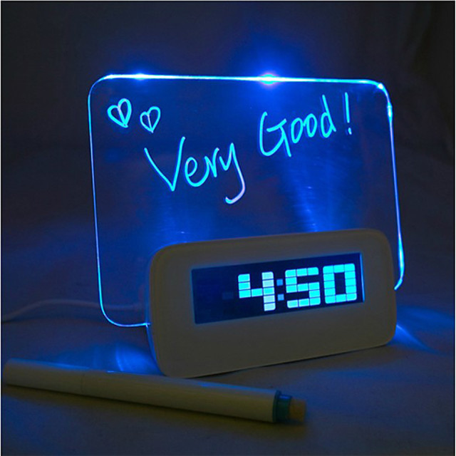 Message Board Blue Light Digital Alarm Clock with 4 USB Port Hub 1pc (USB)