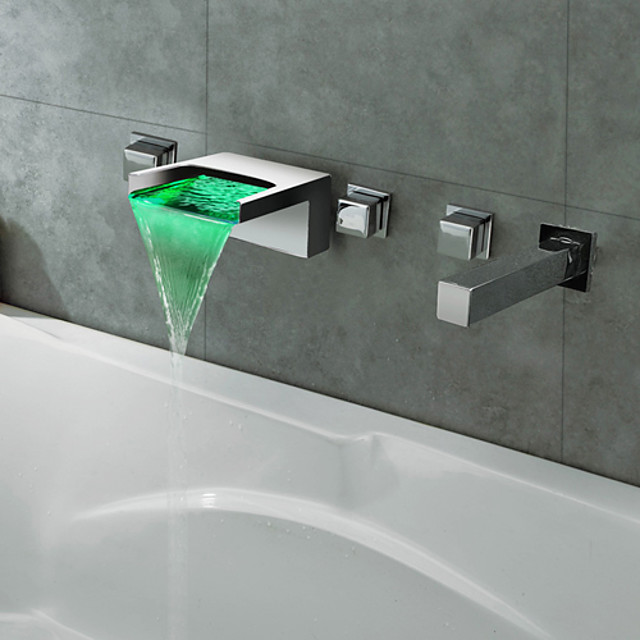 Contemporary Roman Tub Waterfall LED with  Ceramic Valve Five Holes for  Chrome , Bathtub Faucet