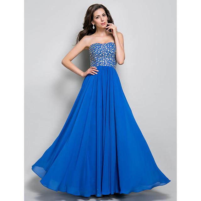 Sheath / Column Open Back Prom Formal Evening Military Ball Dress Sweetheart Neckline Sleeveless Floor Length Chiffon with Crystals Beading Draping 2021