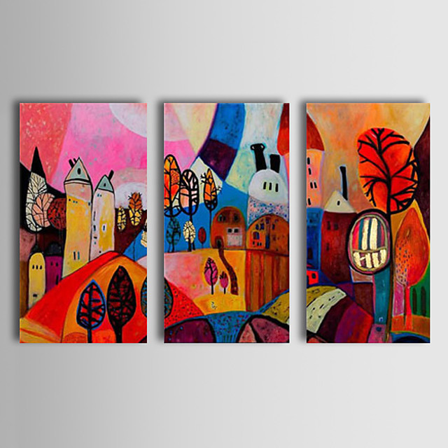Oil Painting Hand Painted Horizontal Abstract Classic Traditional Stretched Canvas / Three Panels