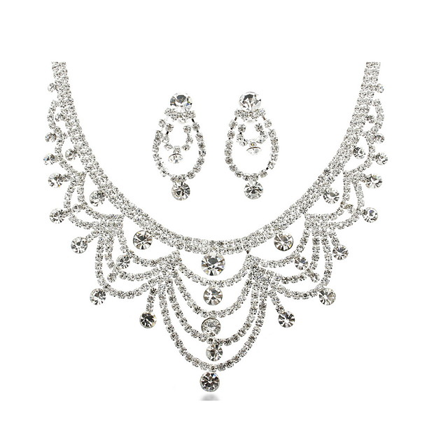 Elegant Alloy Platinum Plated With Rhinestone Wedding Jewelry Set Including Necklace,Earrings