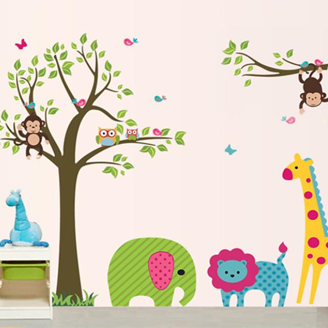 Calcomanías Decorativas de Pared - Pegatinas de pared de animales Animales Habitación para Niños / Habitación para Niñas / Lavable / Removible / Lavable / Removible